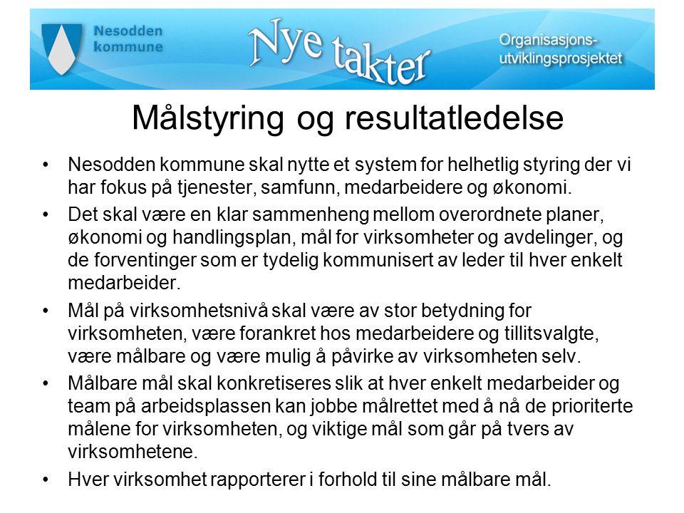 Målstyring og resultatledelse Nesodden kommune skal nytte et system for helhetlig styring der vi har fokus på tjenester, samfunn, medarbeidere og økon