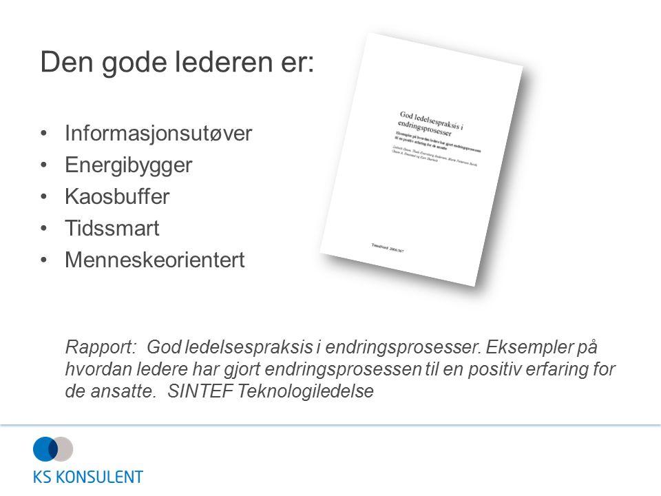 Den gode lederen er: Informasjonsutøver Energibygger Kaosbuffer Tidssmart Menneskeorientert Rapport: God ledelsespraksis i endringsprosesser.