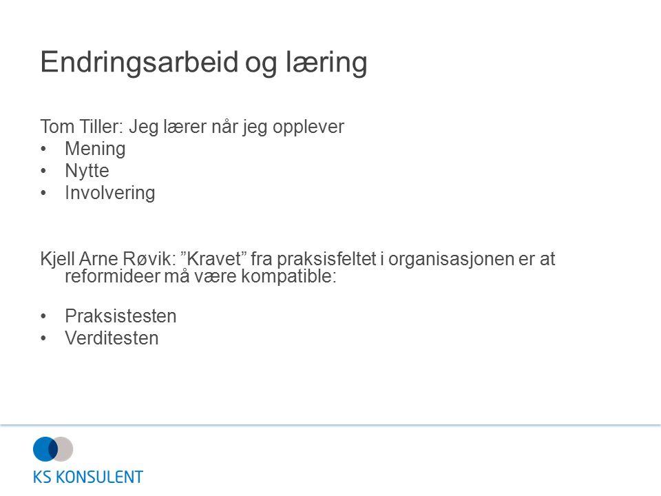 """Endringsarbeid og læring Tom Tiller: Jeg lærer når jeg opplever Mening Nytte Involvering Kjell Arne Røvik: """"Kravet"""" fra praksisfeltet i organisasjonen"""