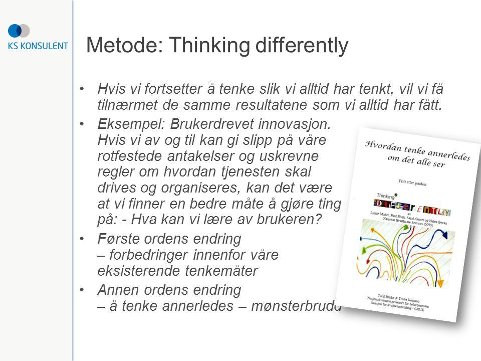 Metode: Thinking differently Hvis vi fortsetter å tenke slik vi alltid har tenkt, vil vi få tilnærmet de samme resultatene som vi alltid har fått. Eks