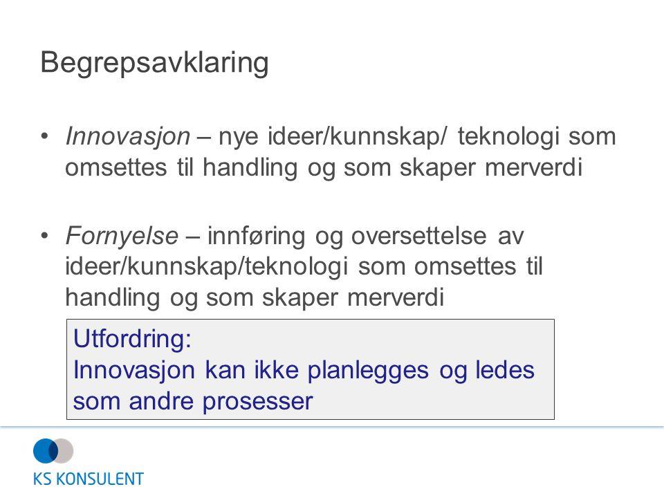 Begrepsavklaring Innovasjon – nye ideer/kunnskap/ teknologi som omsettes til handling og som skaper merverdi Fornyelse – innføring og oversettelse av