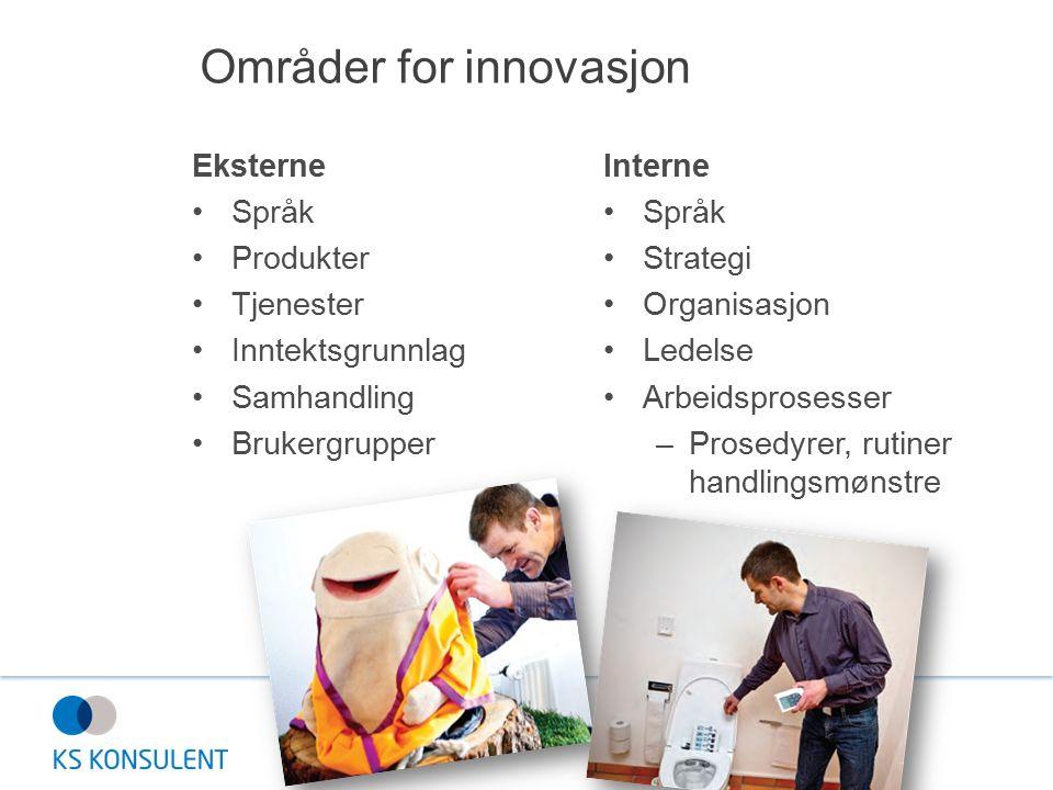 Områder for innovasjon Eksterne Språk Produkter Tjenester Inntektsgrunnlag Samhandling Brukergrupper Interne Språk Strategi Organisasjon Ledelse Arbeidsprosesser –Prosedyrer, rutiner handlingsmønstre
