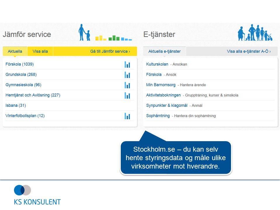 Stockholm.se – du kan selv hente styringsdata og måle ulike virksomheter mot hverandre.