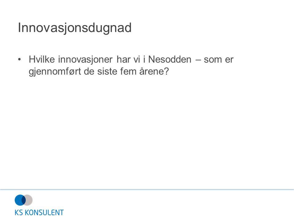 Innovasjonsdugnad Hvilke innovasjoner har vi i Nesodden – som er gjennomført de siste fem årene?