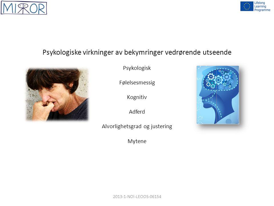Psykologiske virkninger av bekymringer vedrørende utseende Psykologisk Følelsesmessig Kognitiv Adferd Alvorlighetsgrad og justering Mytene 2013-1-NOl-LEOOS-06154