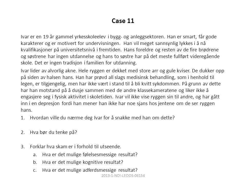 Case 11 Ivar er en 19 år gammel yrkesskoleelev i bygg- og anleggsektoren.