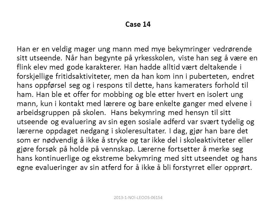 Case 14 Han er en veldig mager ung mann med mye bekymringer vedrørende sitt utseende.