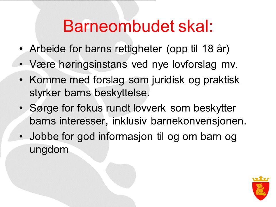 Barneombudet skal: Arbeide for barns rettigheter (opp til 18 år) Være høringsinstans ved nye lovforslag mv.