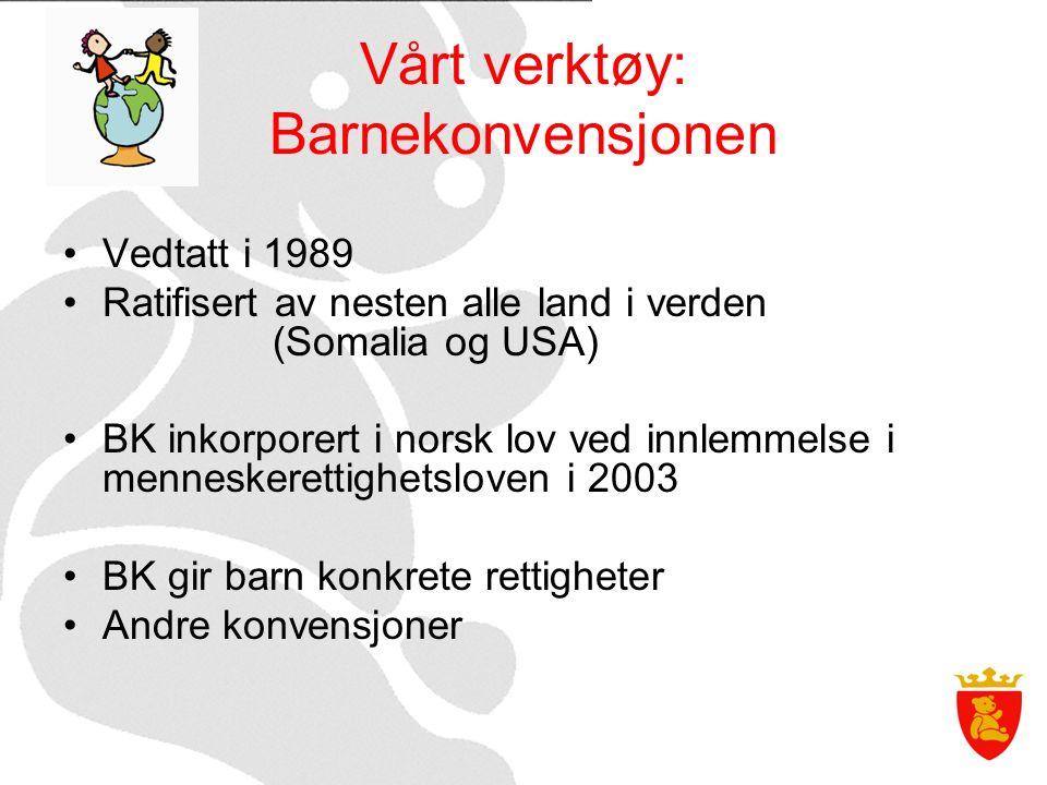 Vårt verktøy: Barnekonvensjonen Vedtatt i 1989 Ratifisert av nesten alle land i verden (Somalia og USA) BK inkorporert i norsk lov ved innlemmelse i menneskerettighetsloven i 2003 BK gir barn konkrete rettigheter Andre konvensjoner