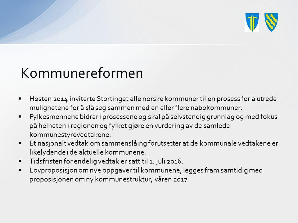 Kommunereformen Høsten 2014 inviterte Stortinget alle norske kommuner til en prosess for å utrede mulighetene for å slå seg sammen med en eller flere