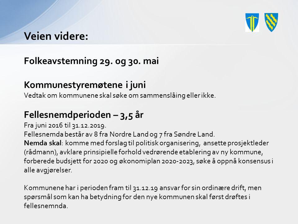 Veien videre: Folkeavstemning 29. og 30. mai Kommunestyremøtene i juni Vedtak om kommunene skal søke om sammenslåing eller ikke. Fellesnemdperioden –