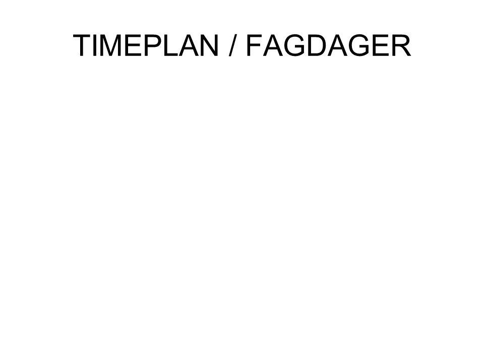 TIMEPLAN / FAGDAGER