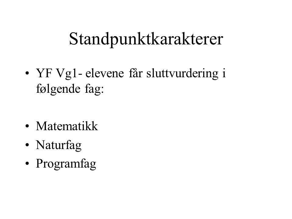 Standpunktkarakterer YF Vg1- elevene får sluttvurdering i følgende fag: Matematikk Naturfag Programfag