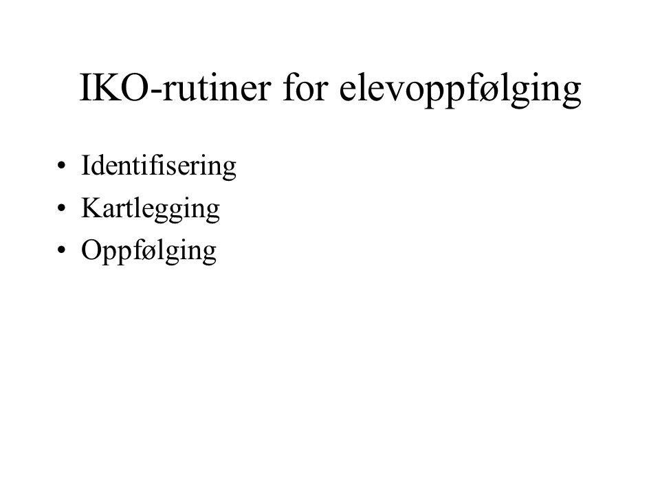 IKO-rutiner for elevoppfølging Identifisering Kartlegging Oppfølging