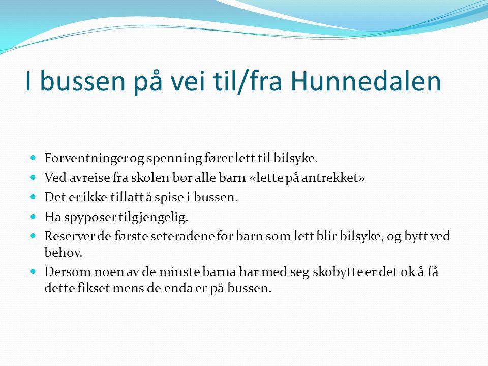 I bussen på vei til/fra Hunnedalen Forventninger og spenning fører lett til bilsyke.