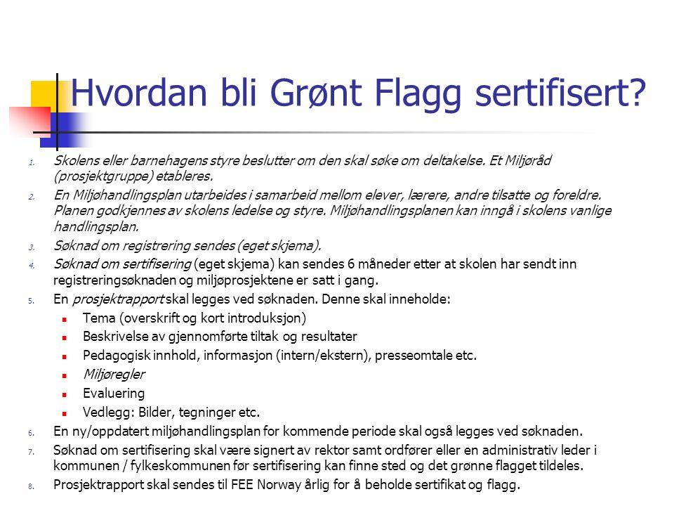 Hvordan bli Grønt Flagg sertifisert? 1. Skolens eller barnehagens styre beslutter om den skal søke om deltakelse. Et Miljøråd (prosjektgruppe) etabler