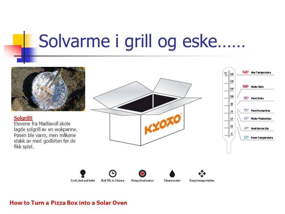 Solvarme i grill og eske…… Solgrill! Elevene fra Madlavoll skole lagde solgrill av en wokpanne. Pøsen ble varm, men måkene stakk av med godbiten før d