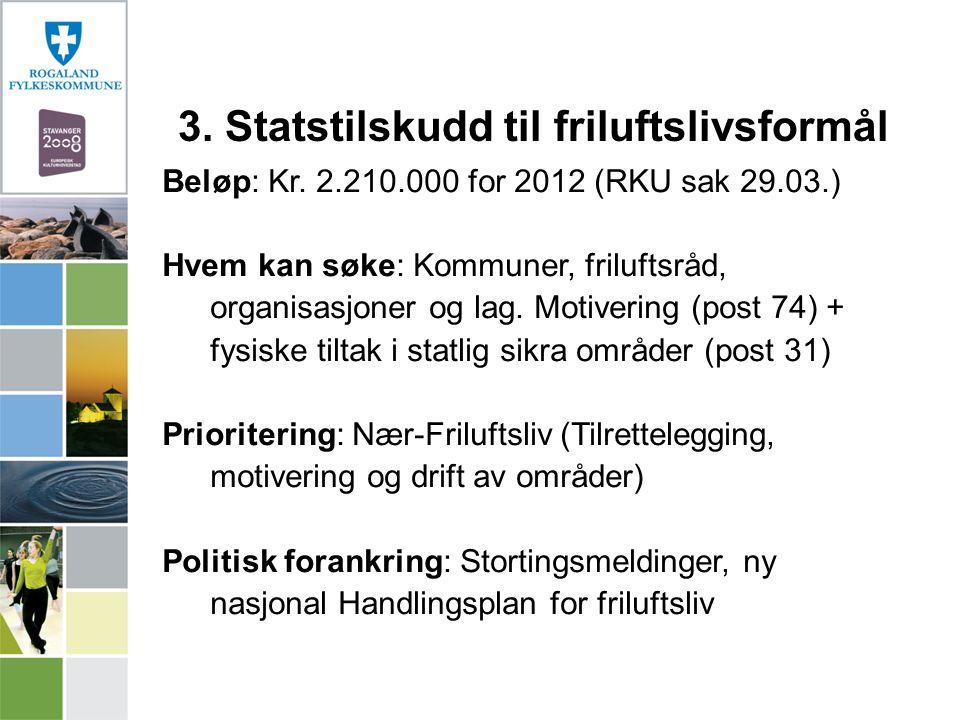 Beløp: Kr. 2.210.000 for 2012 (RKU sak 29.03.) Hvem kan søke: Kommuner, friluftsråd, organisasjoner og lag. Motivering (post 74) + fysiske tiltak i st