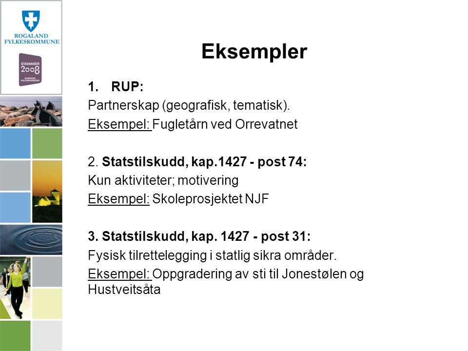 Eksempler 1.RUP: Partnerskap (geografisk, tematisk). Eksempel: Fugletårn ved Orrevatnet 2. Statstilskudd, kap.1427 - post 74: Kun aktiviteter; motiver