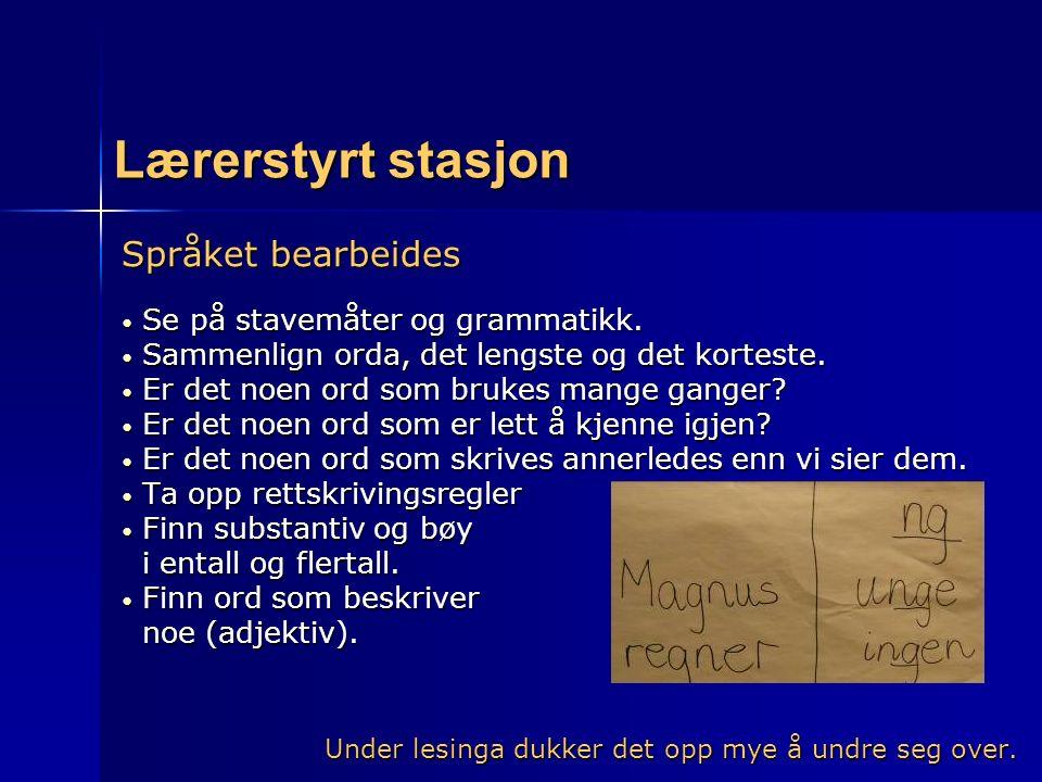 Lærerstyrt stasjon Språket bearbeides Se på stavemåter og grammatikk. Se på stavemåter og grammatikk. Sammenlign orda, det lengste og det korteste. Sa
