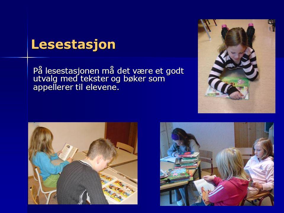 Lesestasjon På lesestasjonen må det være et godt utvalg med tekster og bøker som appellerer til elevene.
