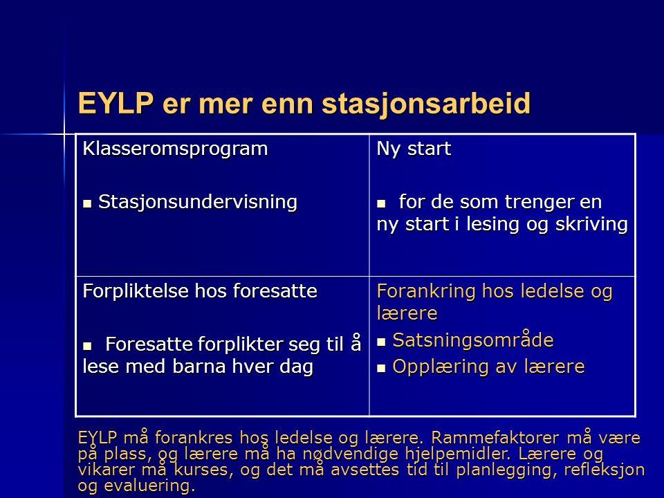 EYLP er mer enn stasjonsarbeid Klasseromsprogram Stasjonsundervisning Stasjonsundervisning Ny start for de som trenger en ny start i lesing og skrivin