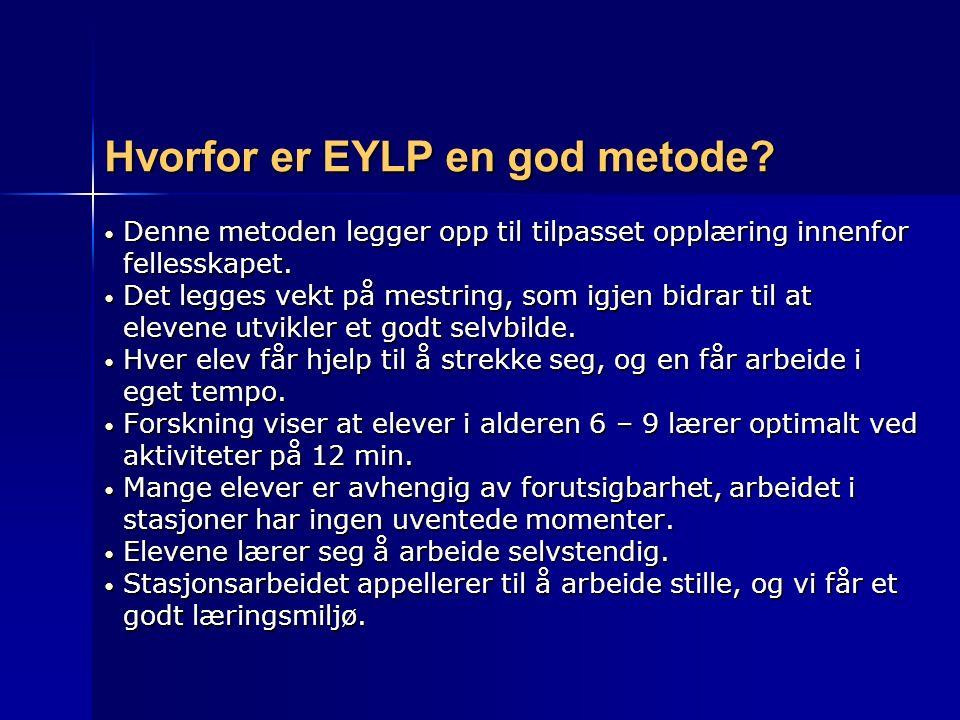 Hvorfor er EYLP en god metode? Denne metoden legger opp til tilpasset opplæring innenfor Denne metoden legger opp til tilpasset opplæring innenfor fel