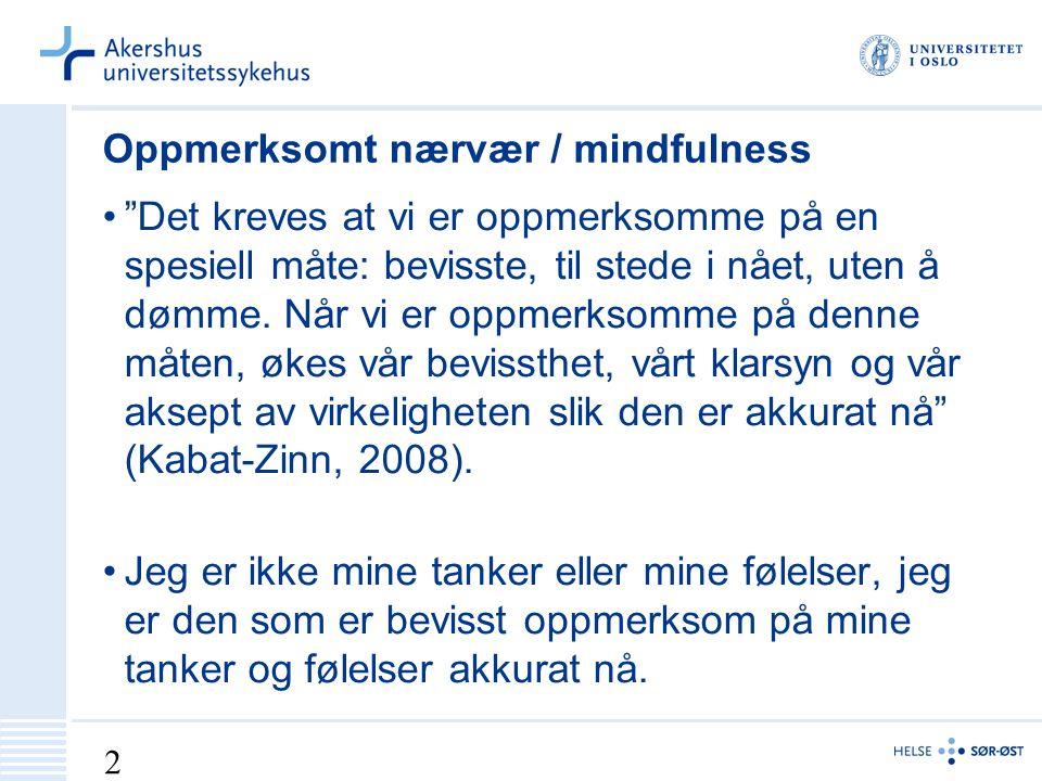 2 Oppmerksomt nærvær / mindfulness Det kreves at vi er oppmerksomme på en spesiell måte: bevisste, til stede i nået, uten å dømme.