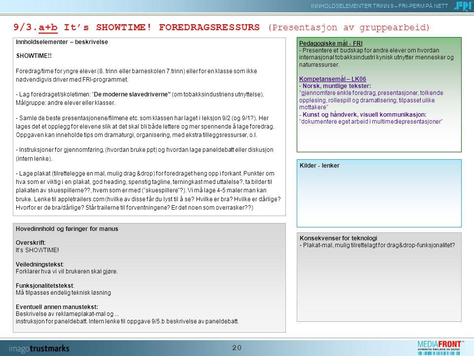 INNHOLDSELEMENTER TRINN 9 – FRI-PERM PÅ NETT 20 9/3.a+b It's SHOWTIME.