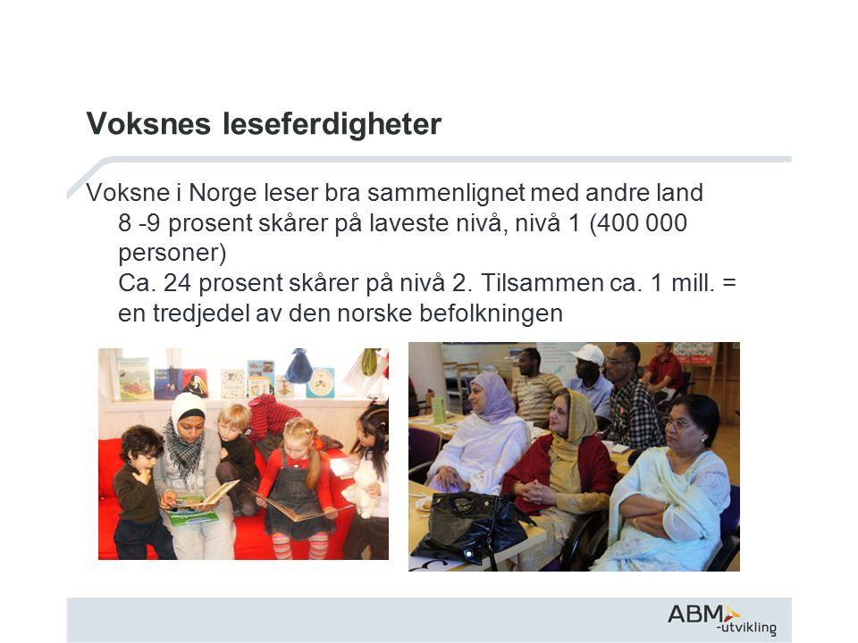 Voksnes leseferdigheter Voksne i Norge leser bra sammenlignet med andre land 8 -9 prosent skårer på laveste nivå, nivå 1 (400 000 personer) Ca.