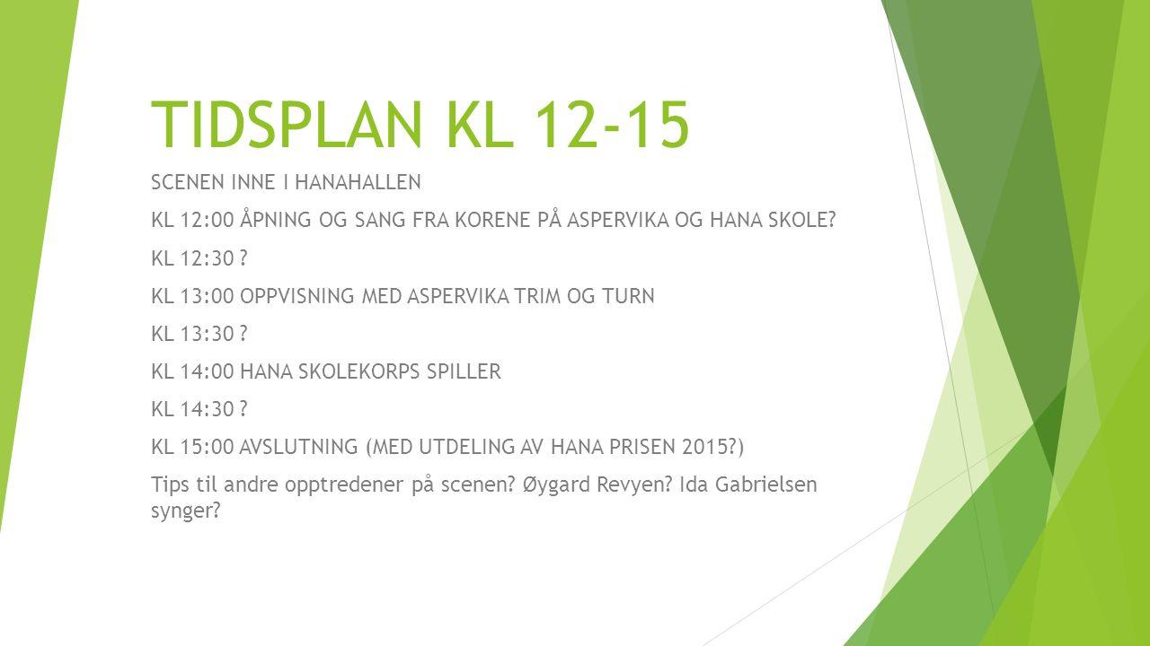 TIDSPLAN KL 12-15 SCENEN INNE I HANAHALLEN KL 12:00 ÅPNING OG SANG FRA KORENE PÅ ASPERVIKA OG HANA SKOLE.