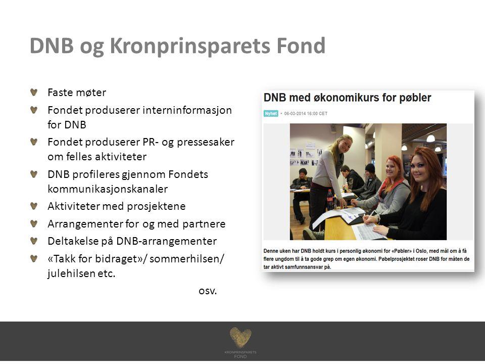 DNB og Kronprinsparets Fond Faste møter Fondet produserer interninformasjon for DNB Fondet produserer PR- og pressesaker om felles aktiviteter DNB pro