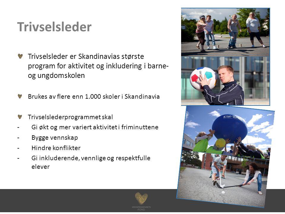 Trivselsleder Trivselsleder er Skandinavias største program for aktivitet og inkludering i barne- og ungdomskolen Brukes av flere enn 1.000 skoler i Skandinavia Trivselslederprogrammet skal -Gi økt og mer variert aktivitet i friminuttene -Bygge vennskap -Hindre konflikter -Gi inkluderende, vennlige og respektfulle elever