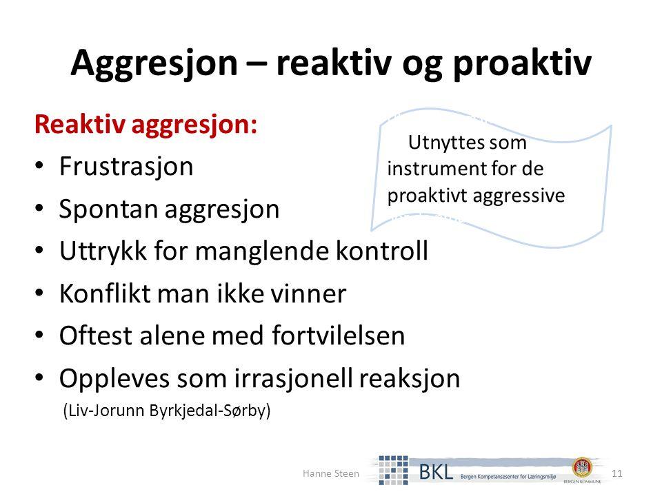 Aggresjon – reaktiv og proaktiv Reaktiv aggresjon: Frustrasjon Spontan aggresjon Uttrykk for manglende kontroll Konflikt man ikke vinner Oftest alene