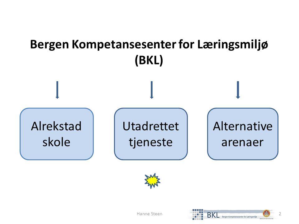 Alrekstad skole Utadrettet tjeneste Alternative arenaer Bergen Kompetansesenter for Læringsmiljø (BKL) Hanne Steen2