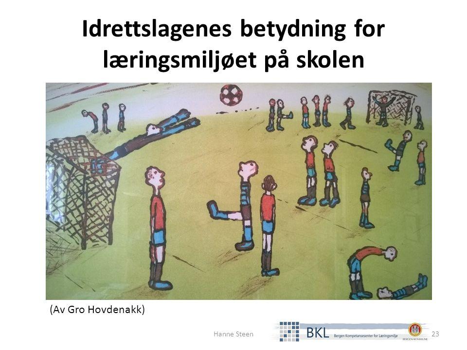 Idrettslagenes betydning for læringsmiljøet på skolen (Av Gro Hovdenakk) Hanne Steen23