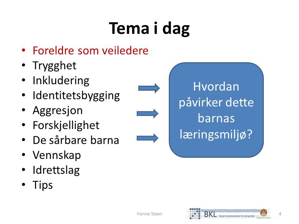Foreldrene som veiledere Veilede Forklare Lære bort handlingsalternativ Støtte Hanne Steen5 Planlegge sammen