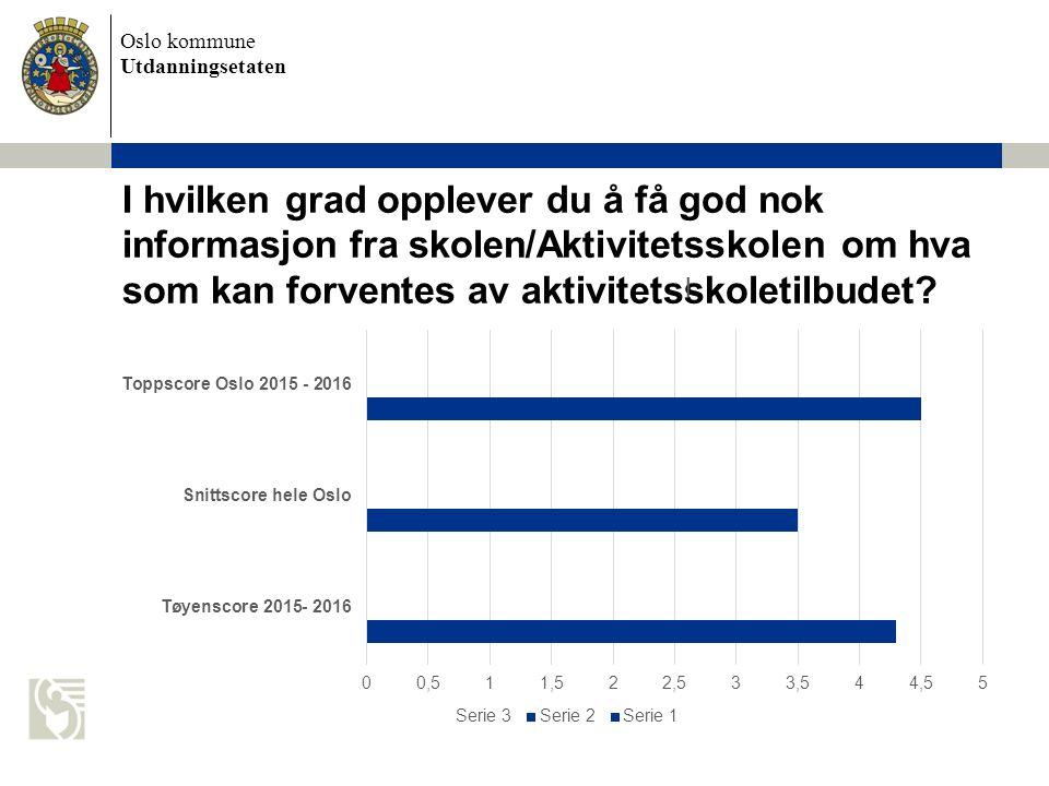 Oslo kommune Utdanningsetaten I hvilken grad opplever du å få god nok informasjon fra skolen/Aktivitetsskolen om hva som kan forventes av aktivitetsskoletilbudet?