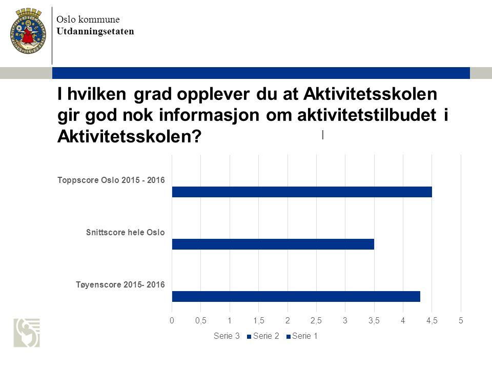 Oslo kommune Utdanningsetaten I hvilken grad opplever du at Aktivitetsskolen gir god nok informasjon om aktivitetstilbudet i Aktivitetsskolen?