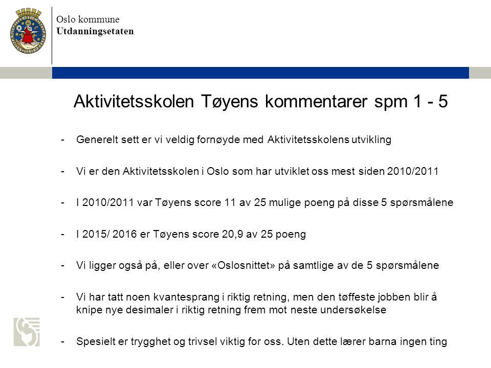 Oslo kommune Utdanningsetaten Aktivitetsskolen Tøyens kommentarer spm 1 - 5 -Generelt sett er vi veldig fornøyde med Aktivitetsskolens utvikling -Vi er den Aktivitetsskolen i Oslo som har utviklet oss mest siden 2010/2011 -I 2010/2011 var Tøyens score 11 av 25 mulige poeng på disse 5 spørsmålene -I 2015/ 2016 er Tøyens score 20,9 av 25 poeng -Vi ligger også på, eller over «Oslosnittet» på samtlige av de 5 spørsmålene -Vi har tatt noen kvantesprang i riktig retning, men den tøffeste jobben blir å knipe nye desimaler i riktig retning frem mot neste undersøkelse -Spesielt er trygghet og trivsel viktig for oss.