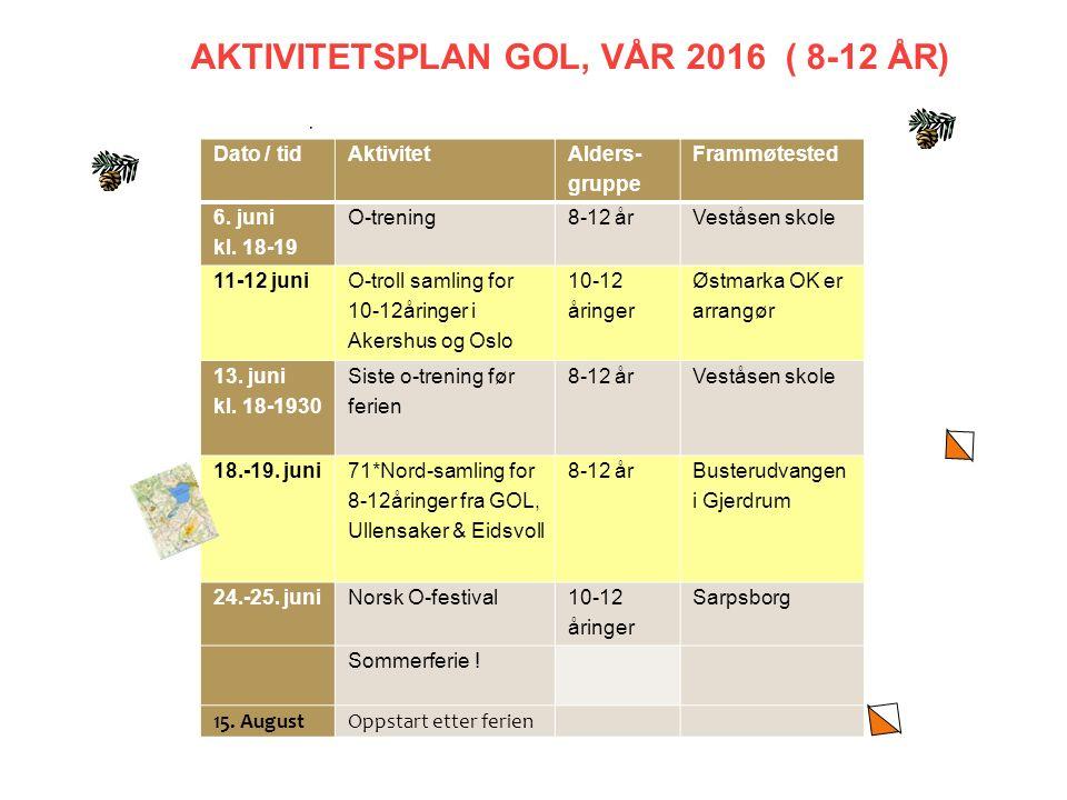 AKTIVITETSPLAN GOL, VÅR 2016 ( 8-12 ÅR) Dato / tidAktivitet Alders- gruppe Frammøtested 6.