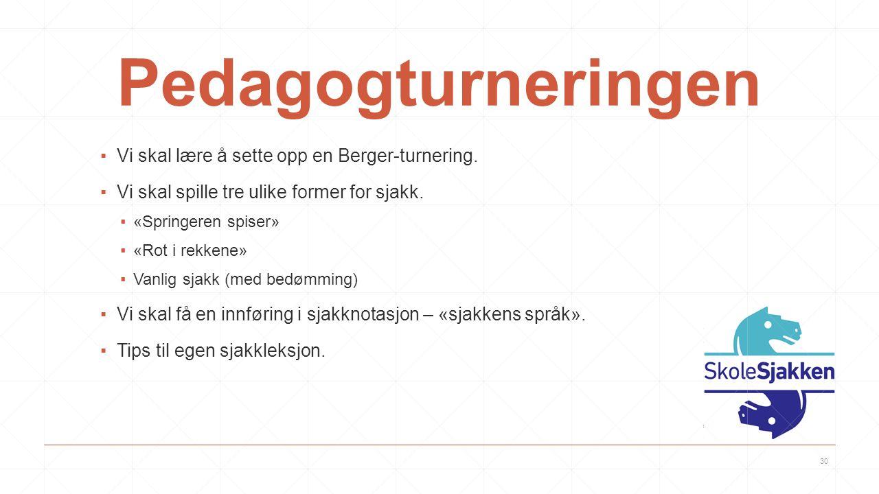 Pedagogturneringen ▪Vi skal lære å sette opp en Berger-turnering.