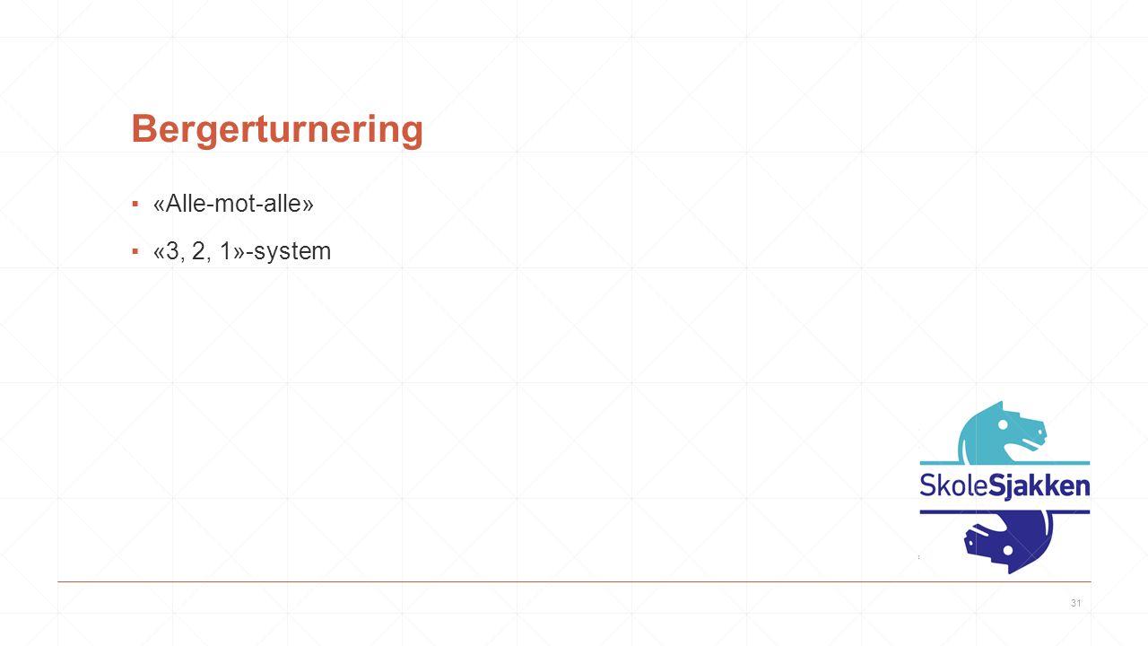 Bergerturnering ▪«Alle-mot-alle» ▪«3, 2, 1»-system 31