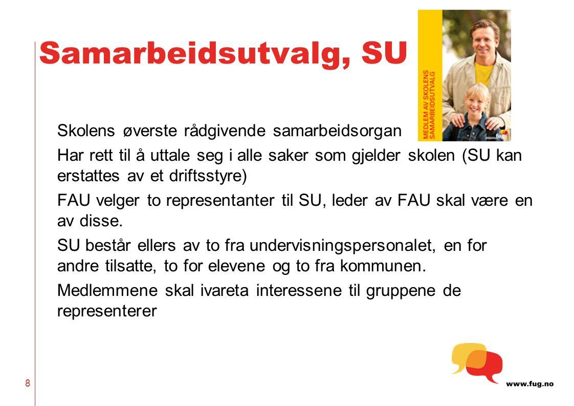 Samarbeidsutvalg, SU Skolens øverste rådgivende samarbeidsorgan Har rett til å uttale seg i alle saker som gjelder skolen (SU kan erstattes av et driftsstyre) FAU velger to representanter til SU, leder av FAU skal være en av disse.