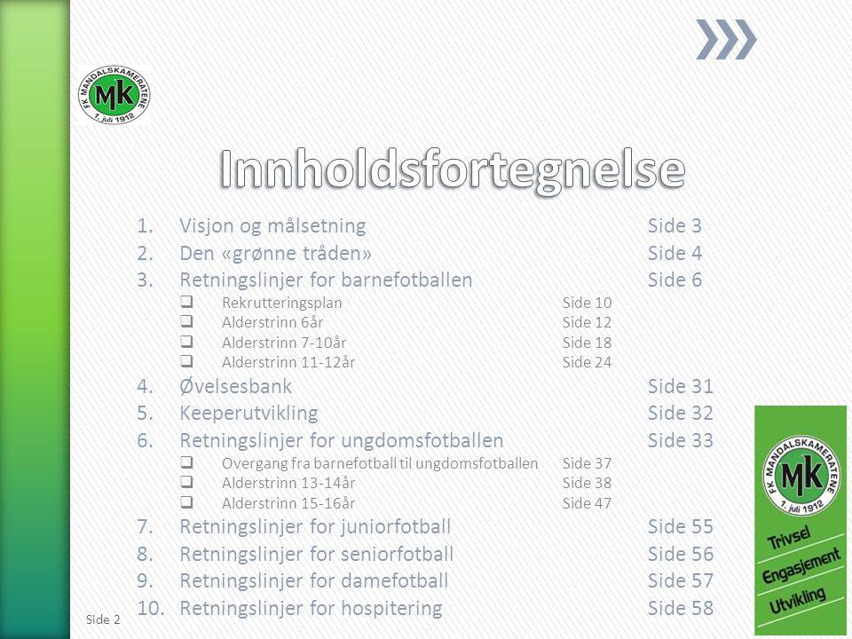 1.Visjon og målsetningSide 3 2.Den «grønne tråden»Side 4 3.Retningslinjer for barnefotballen Side 6  RekrutteringsplanSide 10  Alderstrinn 6årSide 12  Alderstrinn 7-10årSide 18  Alderstrinn 11-12årSide 24 4.ØvelsesbankSide 31 5.KeeperutviklingSide 32 6.Retningslinjer for ungdomsfotballenSide 33  Overgang fra barnefotball til ungdomsfotballenSide 37  Alderstrinn 13-14årSide 38  Alderstrinn 15-16årSide 47 7.Retningslinjer for juniorfotballSide 55 8.Retningslinjer for seniorfotballSide 56 9.Retningslinjer for damefotballSide 57 10.Retningslinjer for hospiteringSide 58 Side 2