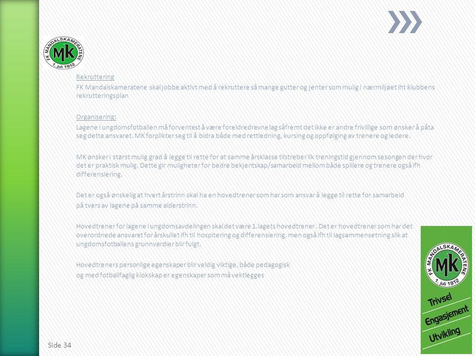 Rekruttering FK Mandalskameratene skal jobbe aktivt med å rekruttere så mange gutter og jenter som mulig i nærmiljøet iht klubbens rekrutteringsplan Organisering: Lagene i ungdomsfotballen må forventest å være foreldredrevne lag såfremt det ikke er andre frivillige som ønsker å påta seg dette ansvaret.