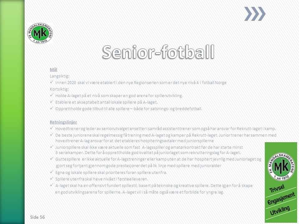 Mål Langsiktig: Innen 2020 skal vi være etablert i den nye Regionserien som er det nye nivå 4 i fotball Norge Kortsiktig: Holde A-laget på et nivå som