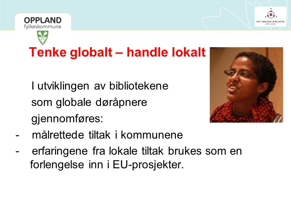 Tenke globalt – handle lokalt I utviklingen av bibliotekene som globale døråpnere gjennomføres: - målrettede tiltak i kommunene - erfaringene fra lokale tiltak brukes som en forlengelse inn i EU-prosjekter.
