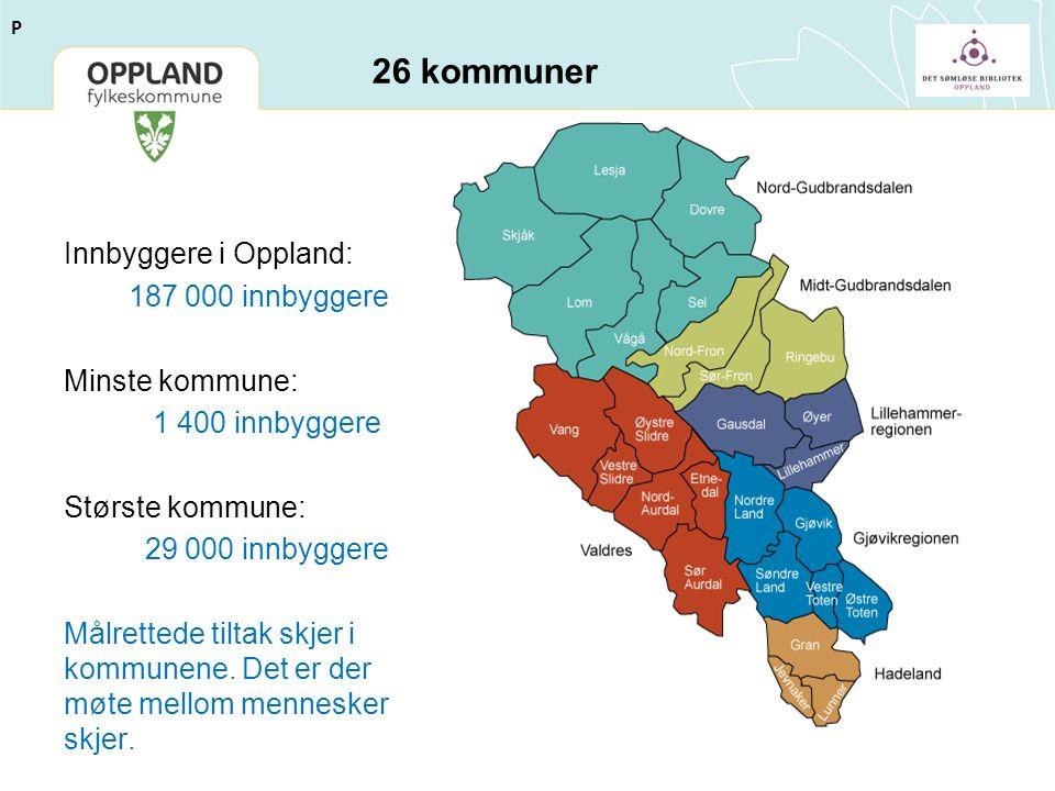 26 kommuner Innbyggere i Oppland: 187 000 innbyggere Minste kommune: 1 400 innbyggere Største kommune: 29 000 innbyggere Målrettede tiltak skjer i kommunene.