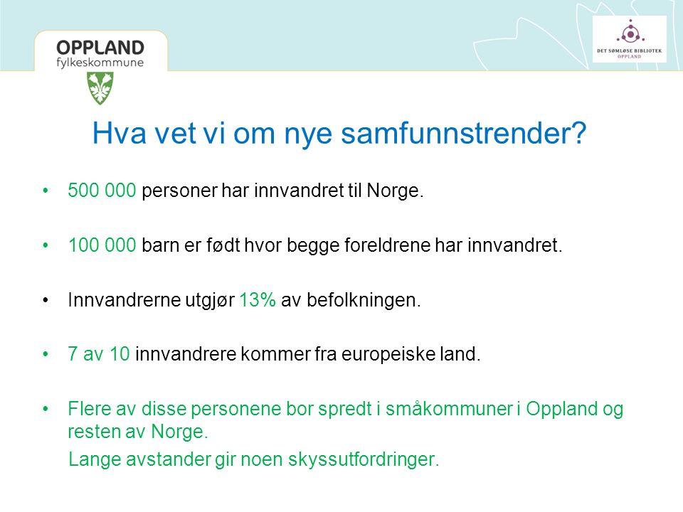 Hva vet vi om nye samfunnstrender. 500 000 personer har innvandret til Norge.